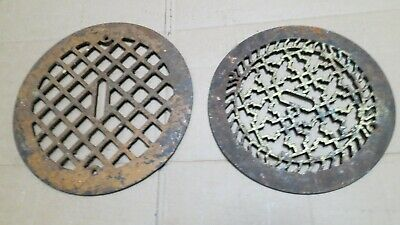 2 Round Cast Iron grate/vent COVERS craftsman Victorian wall/floor