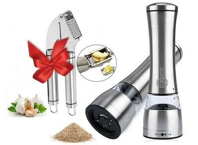 2 x MANUAL MILL GRINDER AND 1 x GIFT GARLIC PRESS Stainless Steel High Quality