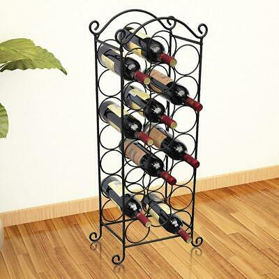 Metal Wine Home Bar Storage Rack Floor Stand Shelf Organiser - Holds 21 Bottles