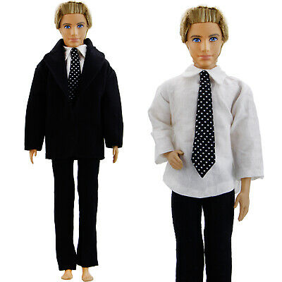 Black Formal Suit Polka Tie Wedding Groom Clothes Tuxedo For 12 in. Ken Doll Toy