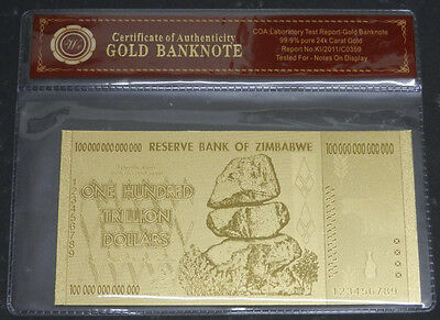 Zimbabwe 100 Trillion Gold Banknote Plated With Pure 24K Gold +COA (Zm1COA)