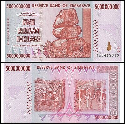 Zimbabwe 5 Billion Dollars 2008 Banknote UNC AA+ (Zm5B)