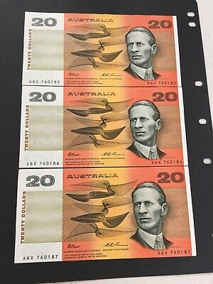 1993 Fraser/Evans $20  Consecutive X 3  UNC<2> and aUNC<1> very nice banknotes
