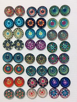 BB FLATBACKS glass dome 12mm cabochon pk of 20 FLORAL CIRCLES MIX 10 pairs