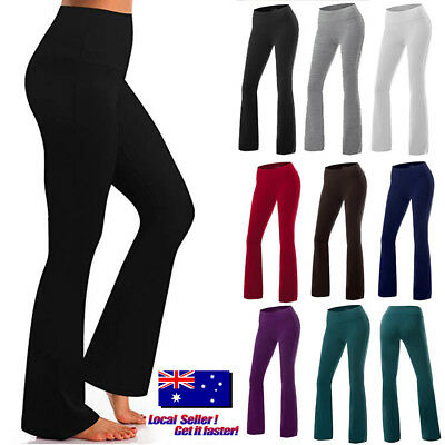 Women's Slim Wide Leg Long Pants Palazzo High Waist Casual Flared Yoga Trousers