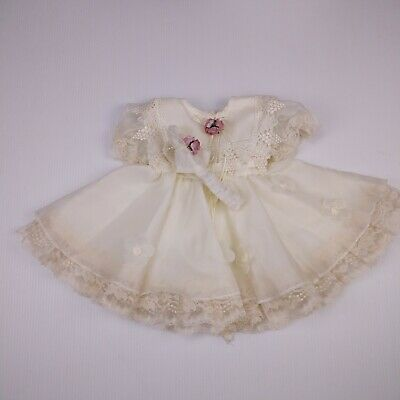 Popayes Vtg Baby Full Circle Sheer Party Dress Size S 12Mo Lace Collar Headband