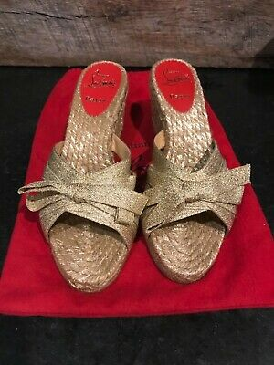 262022340452 NEW! AUTHENTIC CHRISTIAN LOUBOUTIN Gold Espadrille Sandals Wedges ...