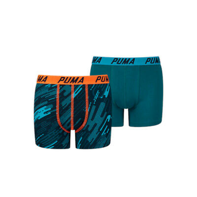 Puma 2-Pack Basic Hero Print Boxershort Blue/Orange-140