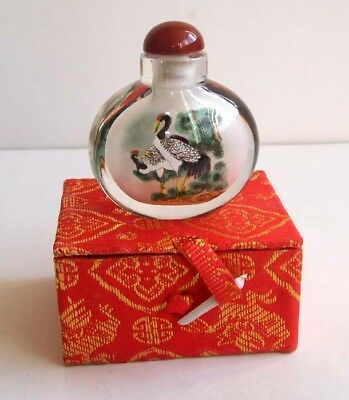 Chinese Handwork Inside Painting Snuff Bottle Crane with pack box