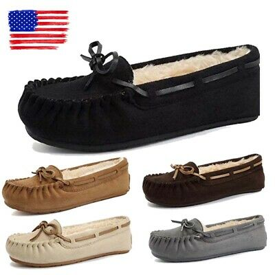 Women's Winter Fur Lined Loafers Moccasins Shoes Slip On Flats Pumps Slippers