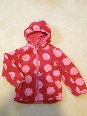 MINI BODEN Girl's Red Pink Polka Dot Lined Jacket COAT with Hood Size 5-6