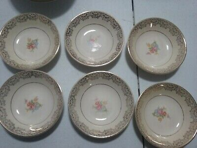 """small dessert or berry bowls 5"""" 22K Gold Paden City Pottery set of 6"""