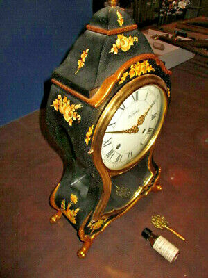 WW: LUXURY ANTIQUE SWISS MADE Le CASTEL MARIE ANTOINETTE BOULLE CLOCK - WORKING