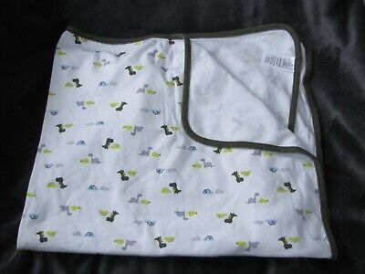 Just One You Cotton Swaddle Swaddling Baby Blanket Dinosaur White Olive Green