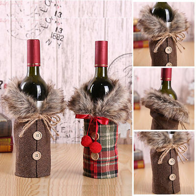Christmas Santa Wine Bottle Bag Cover Xmas Dinner Party Lovely Table Decor A33X