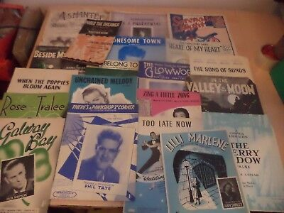 20 x JOB LOT OLD VINTAGE SONG PIANO SHEET MUSIC 1940s 1950s 1960s collection f