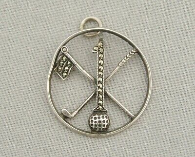VINTAGE 1930s/40s SILVER & MARCASITE GOLF 'HOLE IN ONE' PENDANT