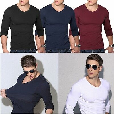 Stylish Men Casual V-Neck Long Sleeve Shirt Slim Fit T-Shirt Tops Blouse Tee