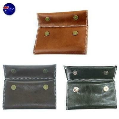 Portable Leather Cigarette Tobacco Pouch Bag Case Rolling Paper Pipe Holder AU