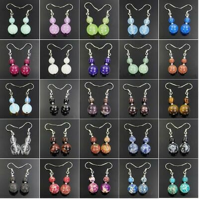 6-10mm Fashion Assorted Natural Gemstone Beads Silver Plated Dangle Earrings AAA