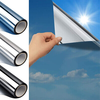 Silver Reflective One Way Mirror Window Film Mirrored Privacy Glass Solar UK
