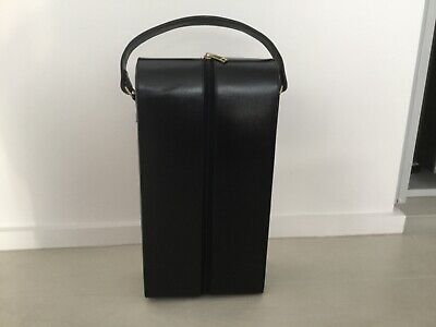 BLACK LEATHER WINE CARRIER CASE for 2 BOTTLES - Carry Handle, Zipper, Lined