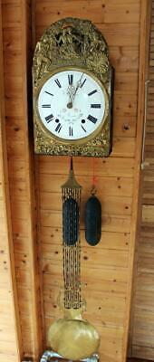 ANTIQUE FRENCH 1850 MORBIER COMTOISE WALL  CLOCK Beautiful decorated. CO27