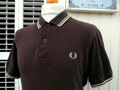 """Fred Perry 'Made In England' Brown Twin Tipped Polo - M/L - 42"""" - Ska Mod Skins"""