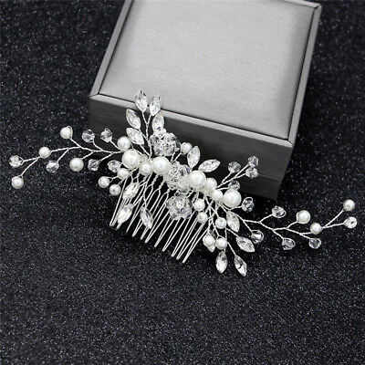 Crystal Pearls Women Hair Jewelry Wedding Hair Comb Bridal Headpieces  FL