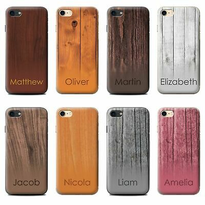 Personalised Name Wood Grain Ombre Effect Phone Case For Apple Iphone Hard Cover