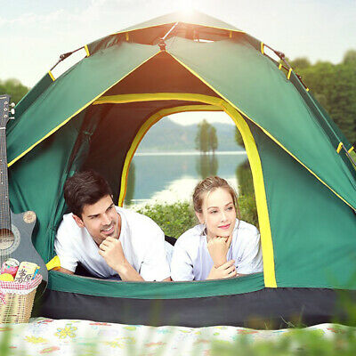 4 Person Double Layer Instant Pop Up Large Camping Tent Outdoor Shelter