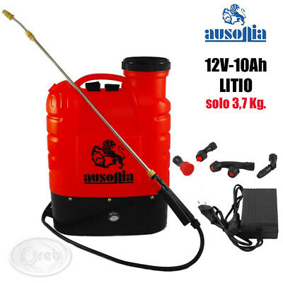 AUSONIA POMPA A SPALLA 16 LT. BATTERIA A LITIO 12V 10Ah RICARICABILE + ACCESSORI