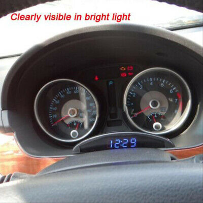 Dashboard Car Thermometer Air Vent Universal 12V Alarm Electronic Clock Mini