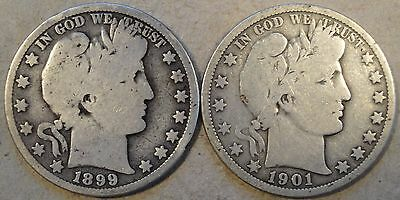 1899-O + 1901-O Barber Half Dollars as Pictured