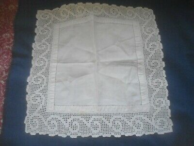 """A Very Pretty White Cotton  And Lace Small Tablecloth 16.75""""x 16.5"""""""