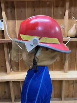Firefighter Helmet With Liner Red Bullard 1995 Model FXA-1