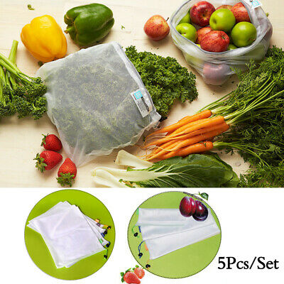 5pcs Reusable Mesh Bags Rope Vegetable Toys Storage Pouch Fruit & Grocery Bags