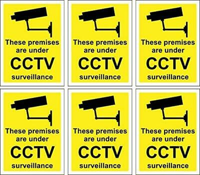 6 X CCTV Signs Self Adhesive 100Mm X 75Mm Suitable For Outdoor Use Home Safe New