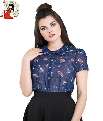 d9087a70d92 HELL BUNNY ATOMIC spaceships ALIENS stars 50s style CHIFFON top BLOUSE  XS-4XL