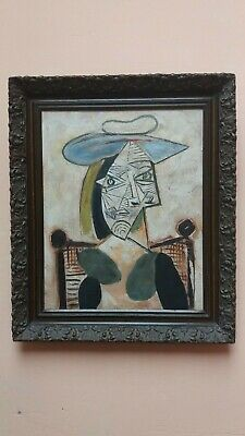 Picasso,oil on canvas,portrait,old,framing.it is signed