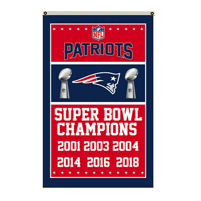 New England Patriots 6 time Super Bowl Champions Flag Deluxe Banner 3'x5'Feet