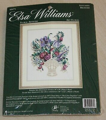 Elsa Williams 00471 Floral Artistry - Crewel Embroidery Kit - New - Bouquet