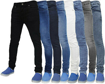 Mens Slim Fit Jeans Super Skinny Stretch True Face Denim Cotton Pants Trousers