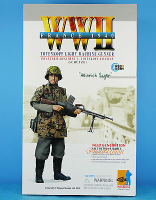 DRAGON 1:6 FIGURE WW2 German Soldier MG26 Light Machine Gun Gunner France 70851