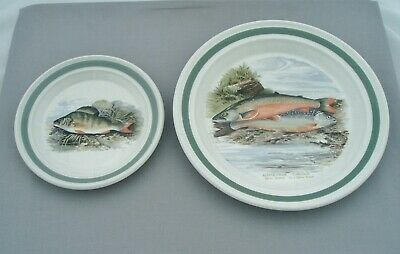 Portmeirion The Compleat Angler 1 Tea Plate & 1 Dinner Plate