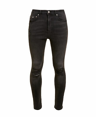 New Mens Superdry Factory Second Spray On Skinny Ankle Jeans Fade Black Destroy