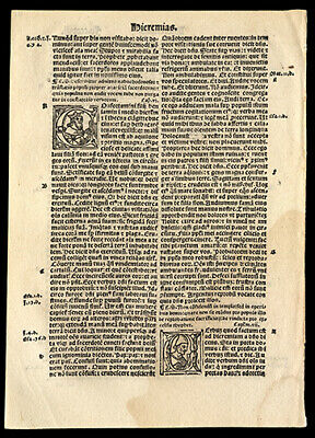The Prophet Jeremiah Chapters 5-7 1519 Latin Bible Leaf 3 Historiated Letters