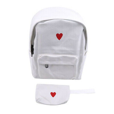 Trendy Canvas Backpack Unisex Travelling Bag Printed Heart Students Bag Set 6A