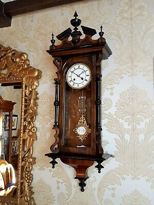 Antique striking Vienna regulator wall Clock by Lenzkirch walnut case