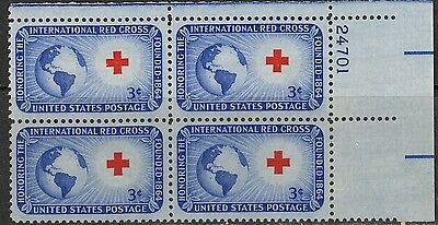 #1016 1952 3-cent International Red Cross block of 4 with plate# MNH